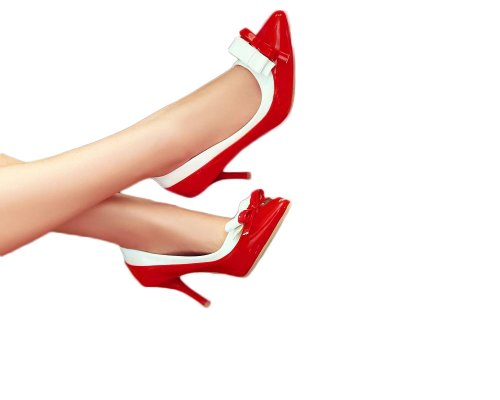 Charme Pied Femmes Mode Arcs Haut Talon Stiletto Mary Jane Pompe Pointu Chaussures Rouge
