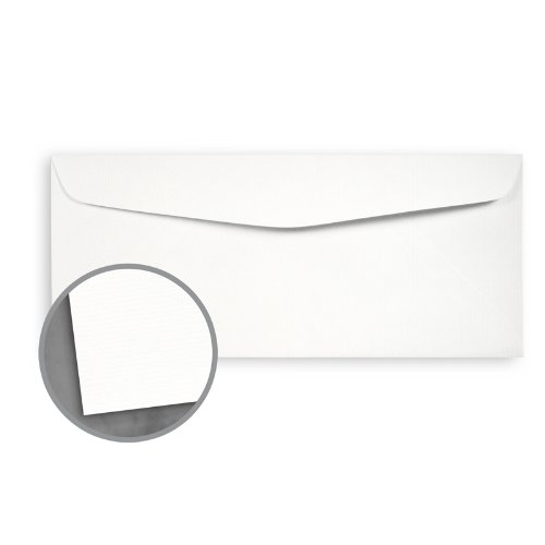 Loop Laid Pure White Envelopes - No. 10 Commercial (4 1/8 x 9 1/2) 24 lb Writing Laid 30% Recycled 500 per Box Pure White 24 Lb Writing