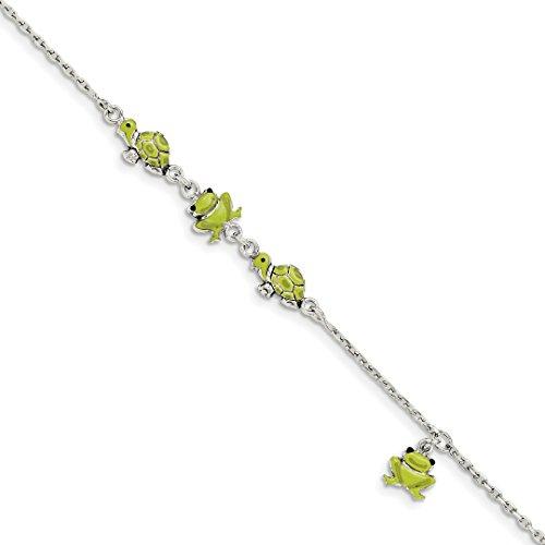 925 Sterling Silver Enamel Turtle Frog 6 Inch