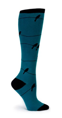Sock It To Me Birds On A Wire Knee High Socks, Teal/Black