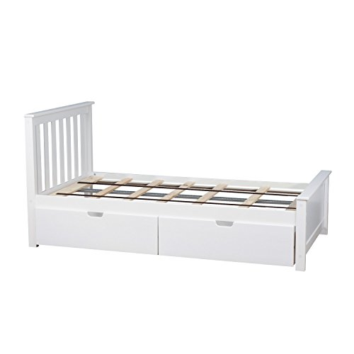 Max & Lily Solid Wood Twin-Size Bed with Under Bed Storage Drawers, White by Max & Lily