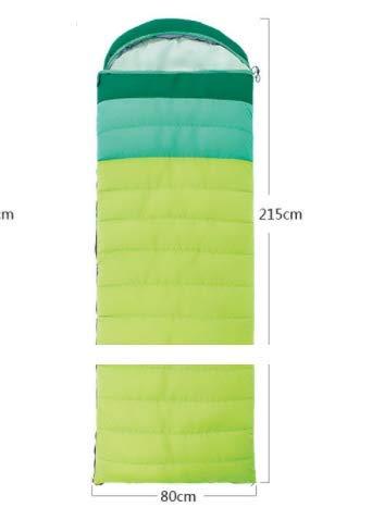 ダウン+コットン混寝袋屋外のキャンプ大人の寝袋は広くて厚い取り外し可能で洗える (Color : ブルー) B07MWXYKFP グリンー  グリンー