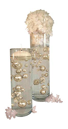 Floating All Ivory Pearls - Unique Jumbo and Assorted Sizes Vase Fillers for Centerpieces Decorations with 2 Transparent Water Gels Packets Combo Discount by Vase Pearlfection