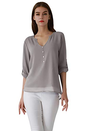 Women Xs Shirts For Classy Yming Womens V Blouses Grey Neck Tops And E9WIHD2