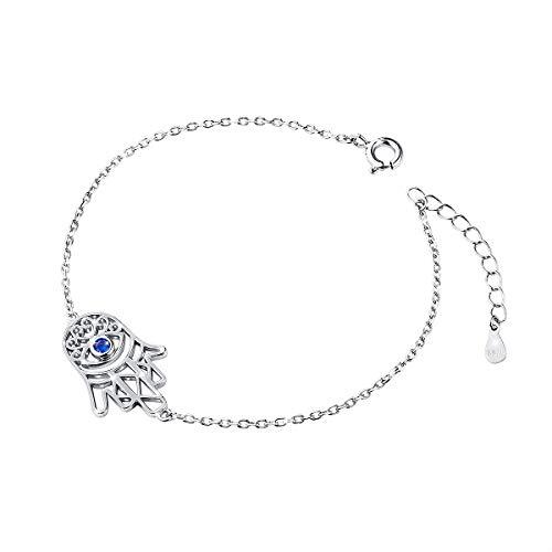 Hamsa Evil Pendant Eye - S925 Sterling Silver Choker Short Sideways Hamsa Hand Evil Eye Necklace Pendant for Women Girl