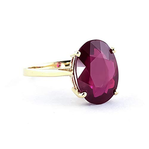 Galaxy Gold 7.5 Carat 14k Solid Gold Ring with Natural Oval-Shaped Ruby (8.5) - Grade AA ()
