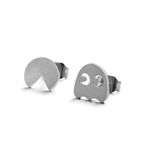 CAIYCAI Multiple Silver Stainless Steel Cute Stud Earrings For Women Girls Minimalist Earrings Carnations,Silver Pac-Man ()