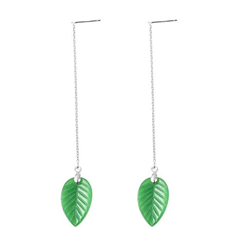 - Dangle Drop Earrings 925 Sterling Silver Dyed Color Green Jade Gift Jewelry for Women