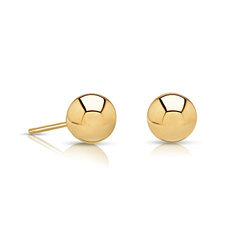 14k Gold Ball Stud Earrings with Secure and Comfortable Friction Backs, 5mm Diameter - Friction Ball Earrings Stud Back