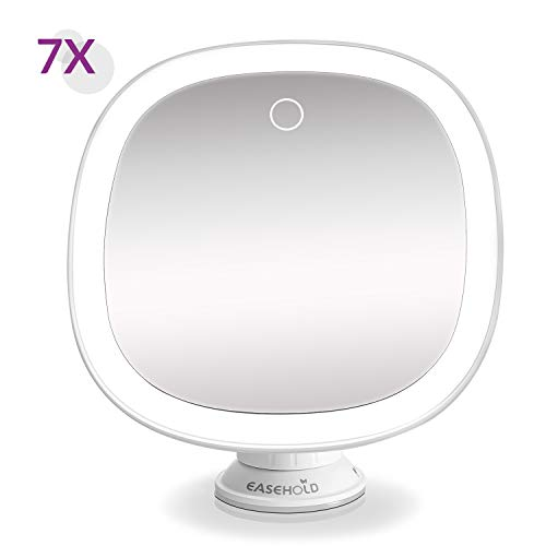 Easehold 7X Magnifying Shower Mirror Rechargeable Bathroom Makeup Vanity with 25 Led Lights Strong Adsorption 360° Rotation for Home Travel (2019 Newest)