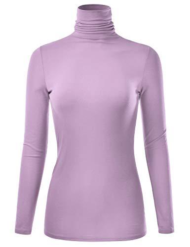 - EIMIN Women's Long Sleeve Turtleneck Lightweight Pullover Slim Shirt Top Lilac 2XL