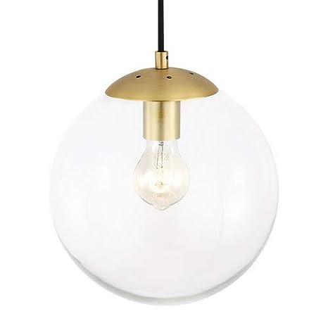 Light Society Zeno Globe Pendant Clear Glass With Brass Finish