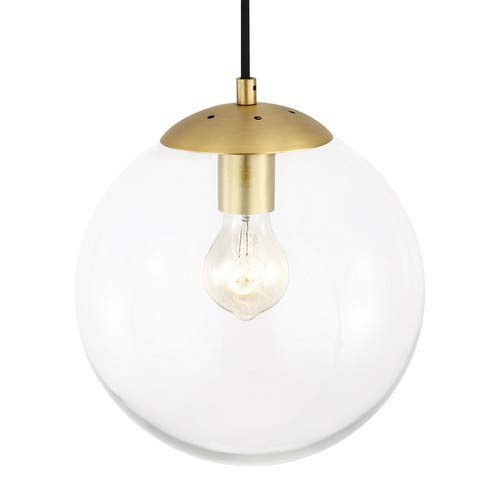 (Light Society Zeno Globe Pendant, Clear Glass with Brass Finish, Contemporary Mid Century Modern Style Lighting Fixture)
