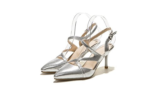 AgooLar Women's Solid PU High-Heels Pointed Closed Toe Buckle Sandals Silver rHUxClGUq6