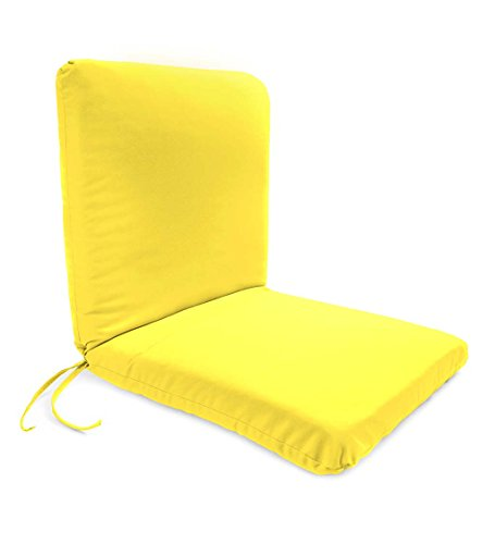 Classic Polyester Outdoor Chair Cushion With Ties, Seat 19'' x 17'' x 2.5''; Back 19'' x 19'' x 2.5'' - Daffodil