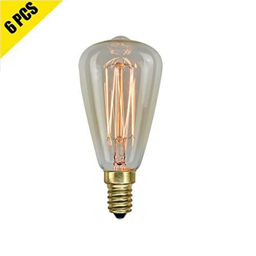 Vintage Edison Filament Bulbs,25W/40W/60W Dimmable Light Bulb, Squirrel Cage Filament with 2200K Soft Warm White Light, E14/E12, 110V-240V,40W ()