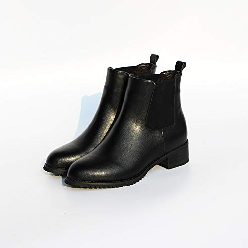 SCLDX Niedrige Niedrige Niedrige Stiefel Für Damen Leder Retro Dick Mit Runder Kopf Plus Samt Winter Warme Rutschfeste Stiefel 5e0de6
