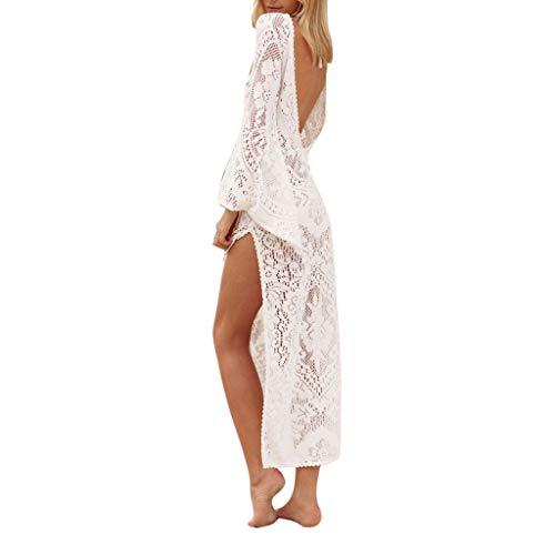 Huifa 2019 Fashion Lady New V Neck Lace Leggy Beach Dress Sunscreen Dress (White,L)