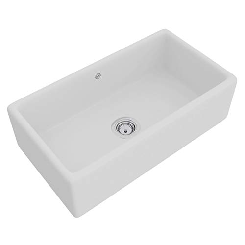 ROHL RC3318WH White Shaws Original (Lancaster) Single Bowl Apron Front Fireclay Kitchen Sink,