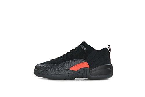 NIKE New Kid's Air Jordan 12 Retro Low BG Basketball Shoe Black/Max Orange 6.5