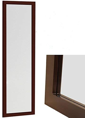 ProDecor Quality Furniture Wood Frame Over The Door Mirror -Wall Mount Full Length Mirror - Wooden Frame Dressing Wall Mirror - Size 14'' x 48'' - Installation Hardware and Instructions Included - Brown by ProDecor Home