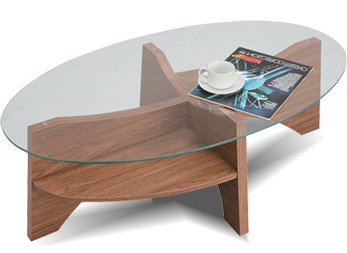 ガラス天板 丸テーブル 棚付き ローテーブル デスク 机 オーバル ウォールナット B0084YF3S8 Parent ウォールナット(BR)