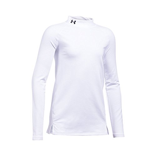 Under Armour Girls' ColdGear Mock Neck,White (100)/Black, Youth Small
