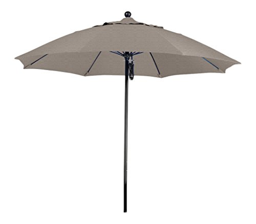 Cheap California Umbrella 9′ Round 100% Fiberglass Frame Market Umbrella, Push Lift, Black Pole, Woven Granite Olefin