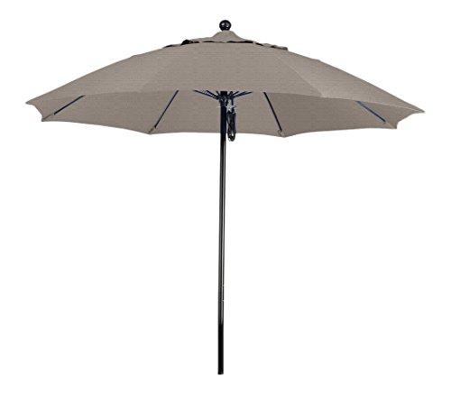California Umbrella 9' Round 100% Fiberglass Frame Market Umbrella, Push Lift, Black Pole, Woven Granite Olefin