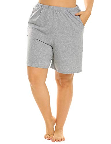 IN'VOLAND Plus Size Sleep Shorts Plus Size Shorts Pajama Shorts Lounge Shorts Sleep Shorts with Side Pockets for Women Grey (Knee Short Pj)