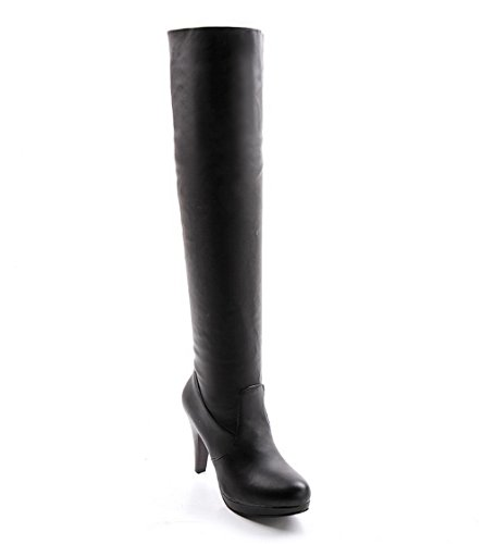 VogueZone009 Damen Überknie Hohe Stiefel Ziehen auf Hoher Absatz Rund Zehe Stiefel, Weiß, 39
