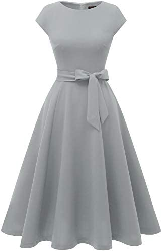 DRESSTELLS Women's Prom Tea Dress Vintage Swing Cocktail Party Dress with Cap-Sleeves 1
