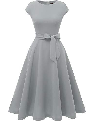 DRESSTELLS Women's Cocktail Party Dress Bridesmaid Swing Vintage Tea Dress with Cap-Sleeves Grey S