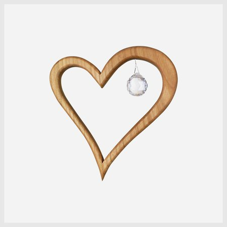 Holz Spiel Art Wooden Heart Suncatcher Window Decoration 5