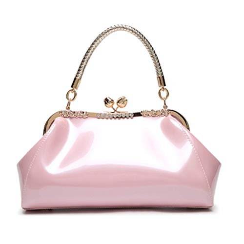 - C&L Fashion Patent Leather Handbags KissLock Structured Womens Purse with Removable Strap (Pink)