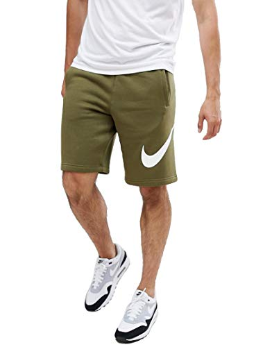NIKE Jersey Shorts with Large Logo (S, Olive (Nike Green Training Shorts)