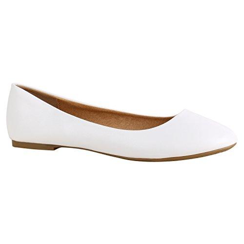 Stiefelparadies Klassische Damen Ballerinas Strass Leder-Optik Schuhe Elegante Slipper Slip On Flats Glitzer Übergrößen Abiball Flandell Weiss Braun