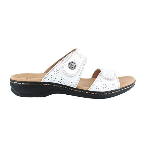 CLARKS Women's Leisa Lacole Slide Sandal, White Leather, 9 W US ()