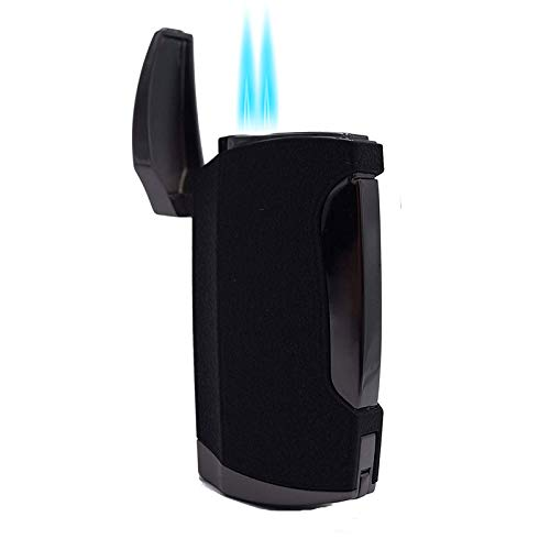 - Torch Lighter Cigars Double Jet Flame Lighter with Cigar Punch Cutter (Black Crackle)