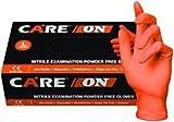 Care On - Nitrile Exam Powder-Free Gloves, ORANGE - Size: Medium