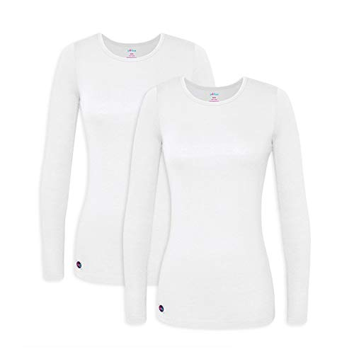 Sivvan 2 Pack Women's Comfort Long Sleeve T-Shirt / Underscrub Tee - S8500-2 - WHT - XL ()