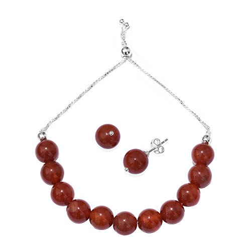 (Red Onyx Earrings Bolo Bracelet Set 925 Sterling Silver Jewelry for Women Adjustable)