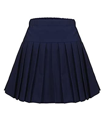 Zeagoo Women's Casual Solid Elastic High Waist Pleated Cosplay Costumes Skirts