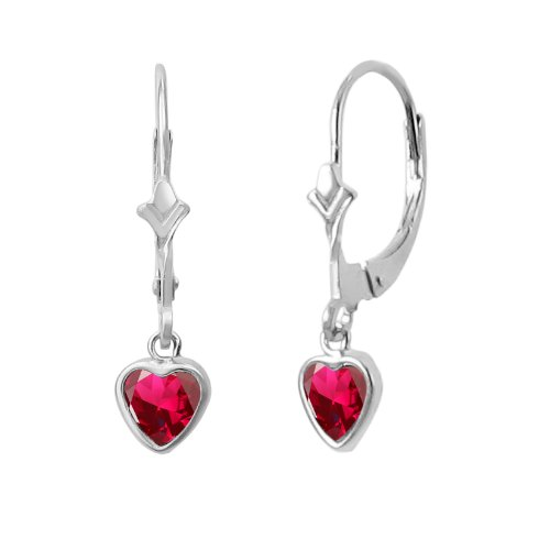 Ruby Created Earring Heart 5mm (14K White Gold Fleur De-Lis Lever Back Earrings with Dangling 5x5mm Heart Shaped Simulated Birthstone - Created Ruby)