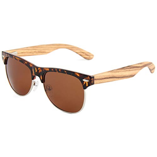 Gafas Moda Marco bambú la Brazo del de de Gafas Brown de Brown Mano sol polarizadas Hechas Medio Gafas Color del a Unisex Madera rHqZfrawvW