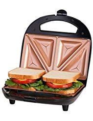Gotham Steel Sandwich Maker, Toaster and Electric Panini Grill with Ultra Nonstick Copper Surface - Makes 2 Sandwiches in Minutes with Virtually No Clean Up, with Easy Cut Edges and Indicator Lights (The Best Sandwich Toaster)