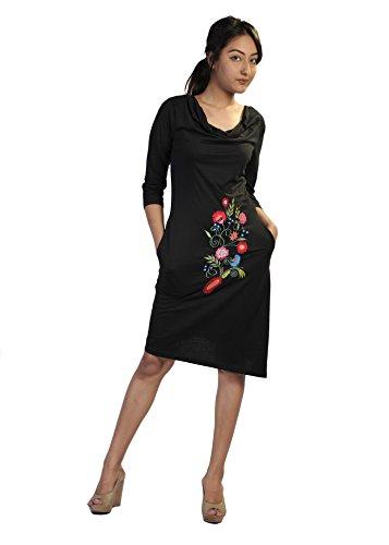 Donna abito manica trimestre con ricamo anteriore