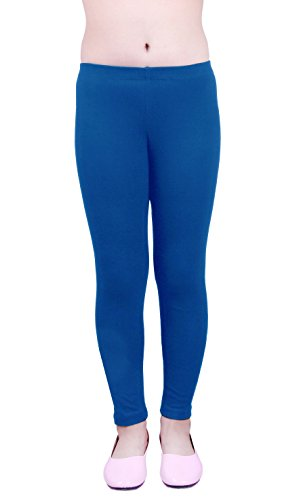 IRELIA Girls Cotton Ankel Length Solid Leggings for School or Play Blue L (Dress Leggings Play)