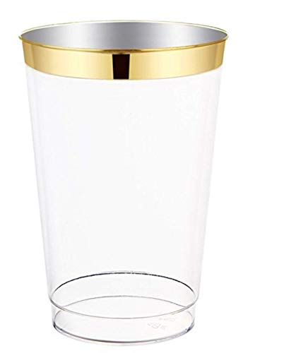 12oz Gold Plastic Cups 100 pack- Elegant Fine Dining Heavy Duty Clear Plastic Disposable Cups/Tumblers with Gold Rim- Weddings, Parties, Showers, Holidays & Special Occasions- Dulce ()