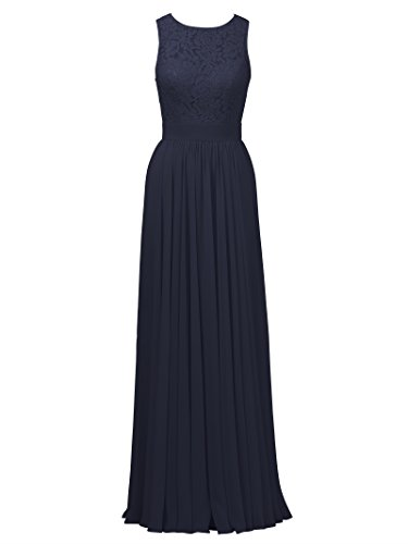 Lace Gown Chiffon Navy Dress Dark Straps Wedding Back Open Alicepub Party Bridesmaid Long 4x6dWpwdqA